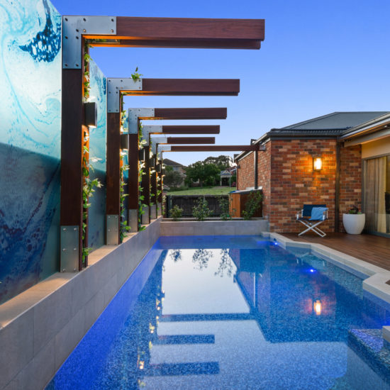 Fully tiled courtyard family pool