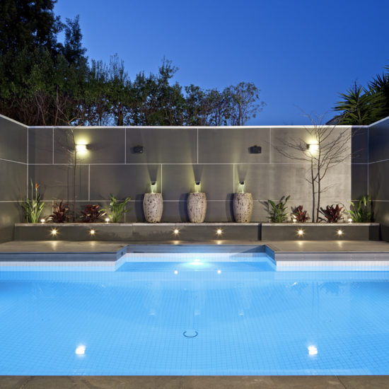 Caulfield courtyard pool with water feature