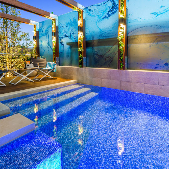 Courtyard blue tile swimming pool