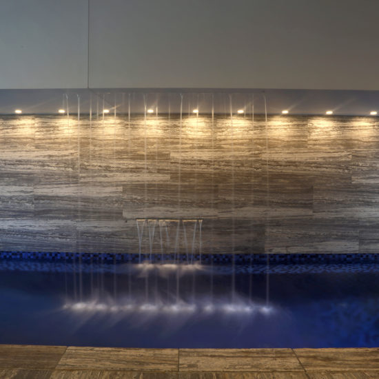 Award winning indoor pool water feature