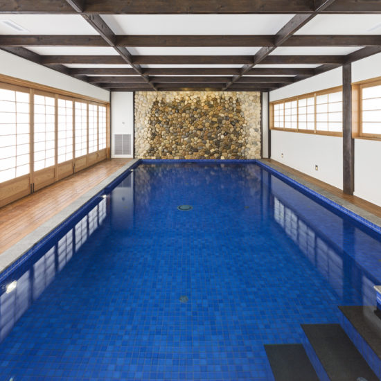 Zen Japanese pool rice paper walls stairs